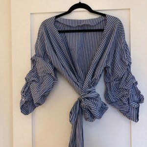 Zara Blue & White Striped Wrap Top